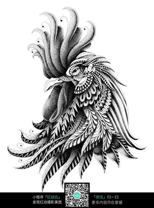 鸡头黑白装饰画图片