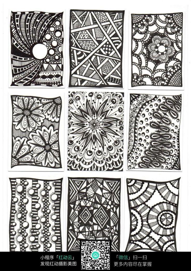 九幅方形手绘插画设计