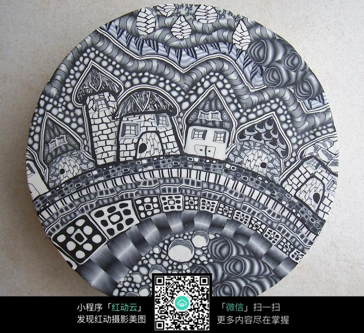 黑白建筑手绘插画