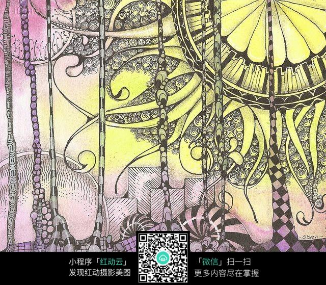 立体感纹饰手绘设计图图片