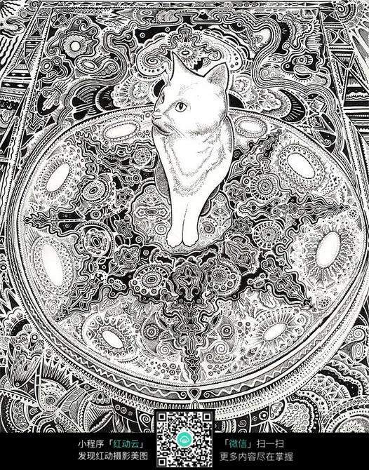 猫咪黑白插画设计