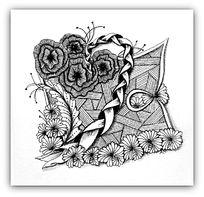 玫瑰花朵黑白插画设计