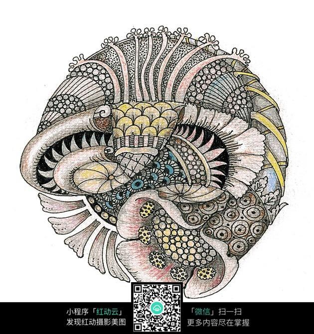民族复杂花纹手绘插画