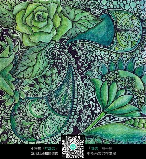 手绘黑白装饰画 复杂传统花纹插图