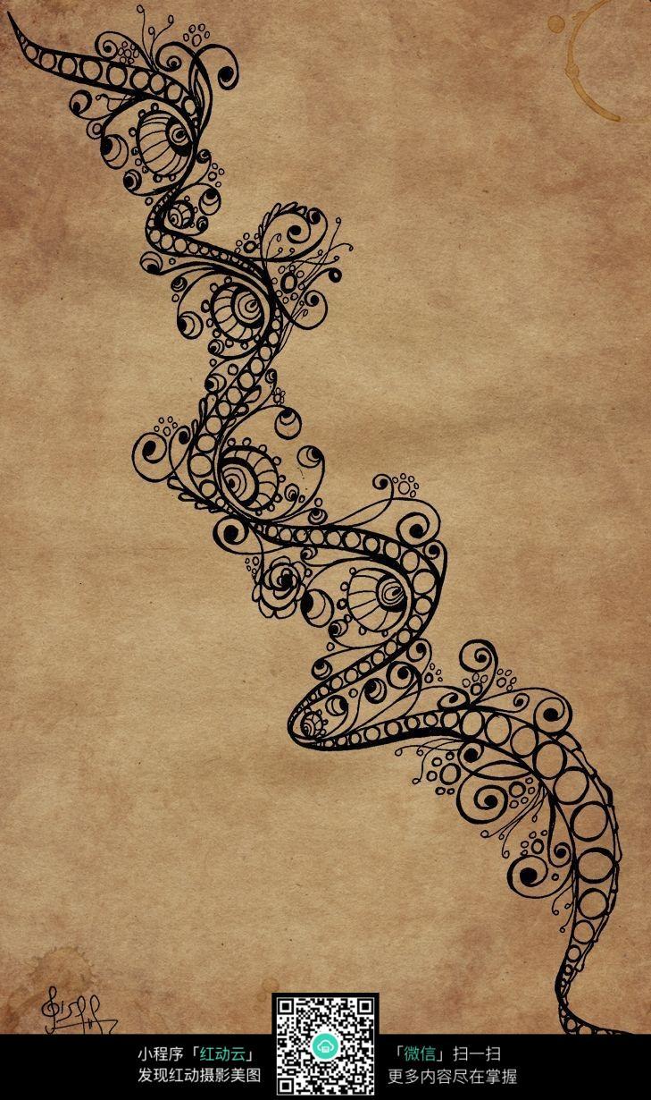 牛皮纸上创意手绘花藤图案