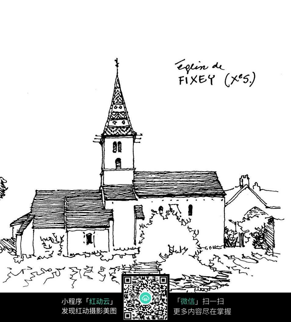 动漫黑白手绘插画房屋