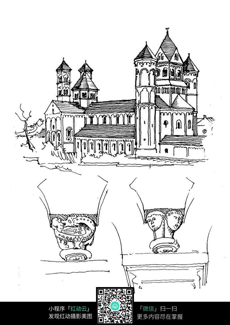 欧美田园建筑手稿图片