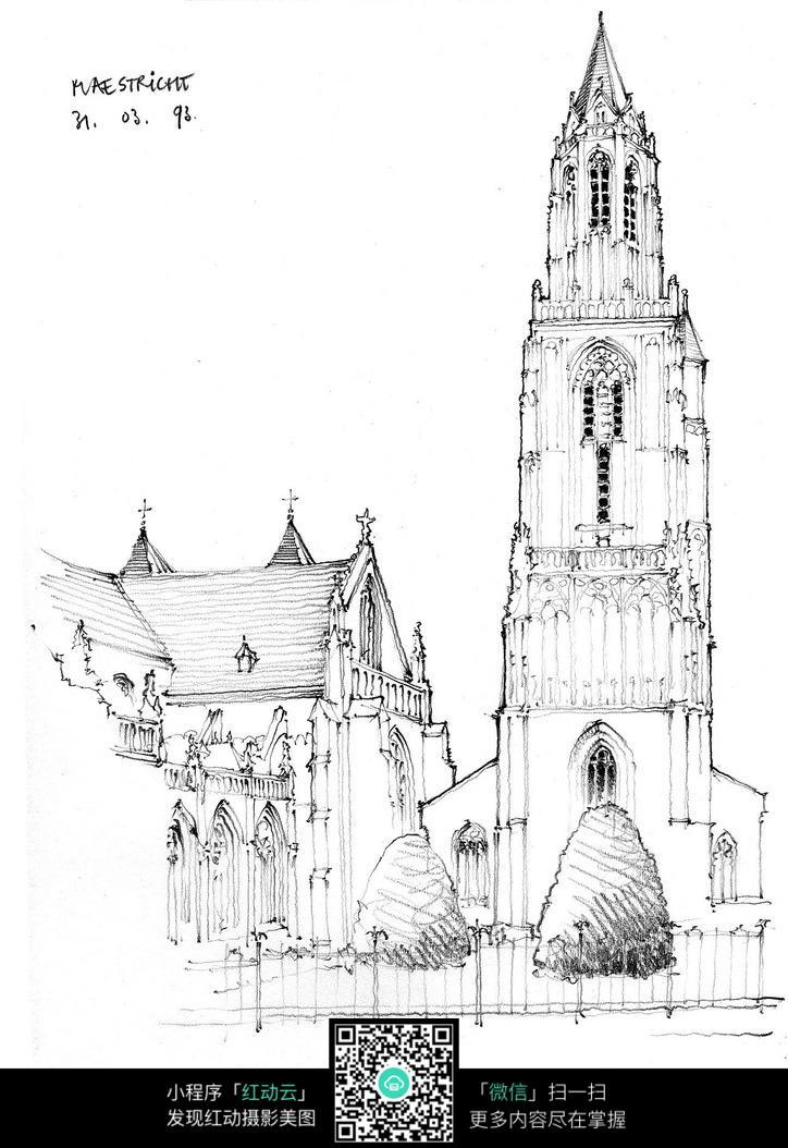 欧式尖塔楼建筑手绘线描稿图片