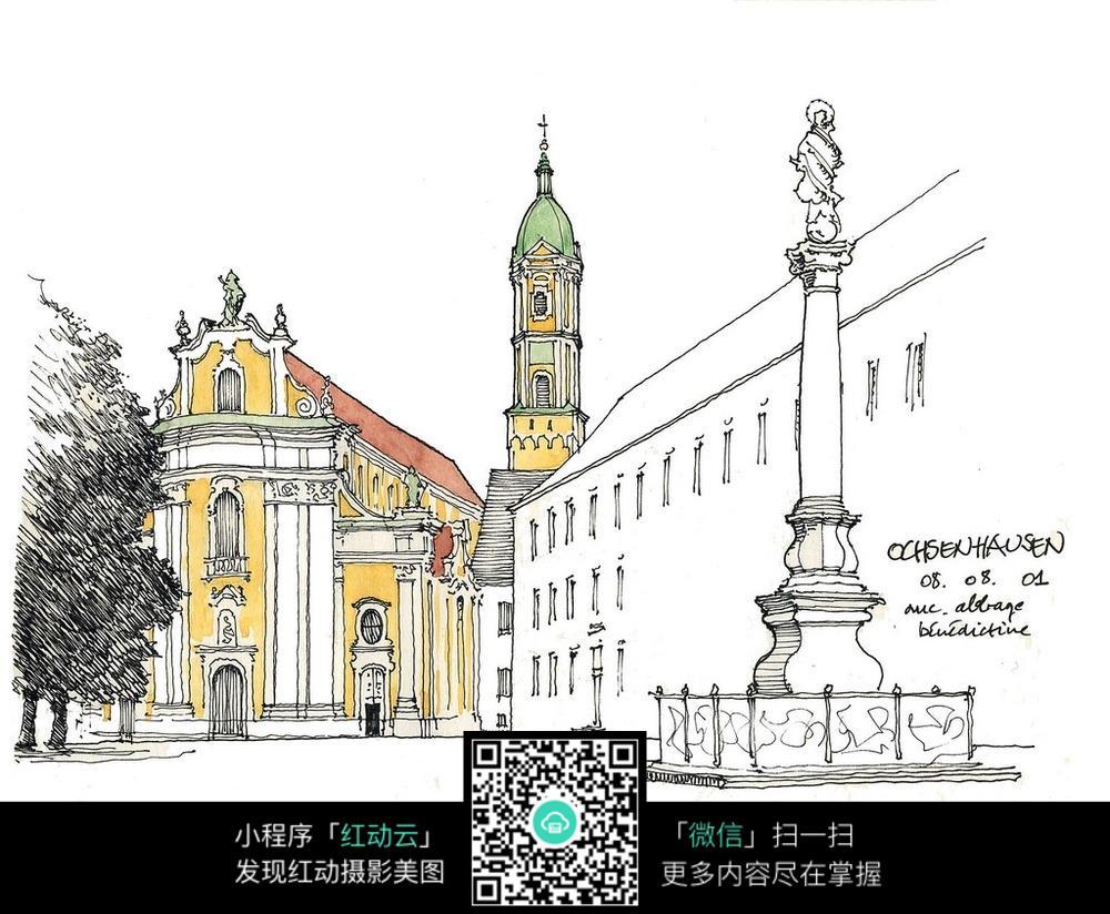 欧式建筑雕塑景观手绘线描图图片