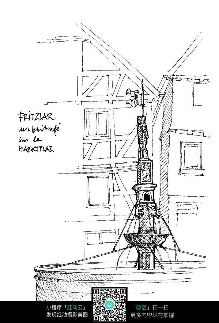 欧式建筑雕塑手绘线描图
