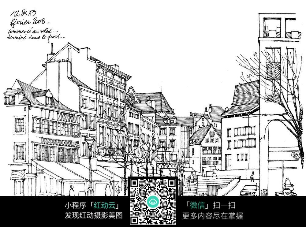 欧式建筑街道手绘线稿图图片