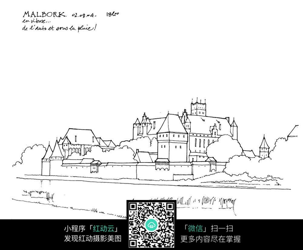 欧式建筑景观简笔手绘线描图图片