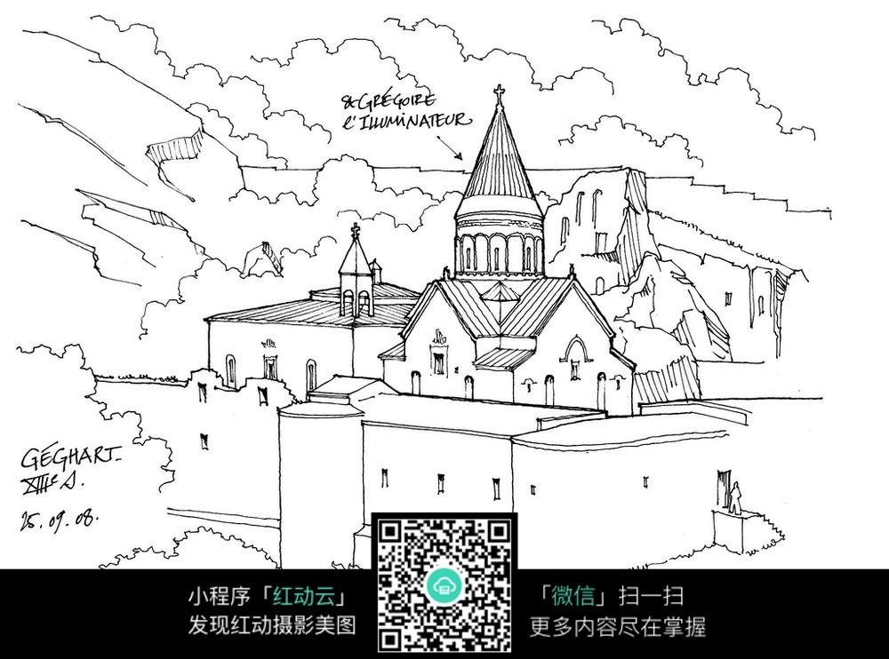 欧式建筑景观手绘线描图图片