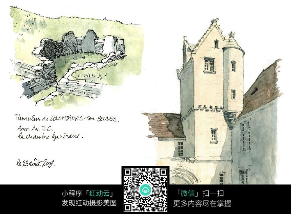 欧式建筑景观水彩手绘线描图图片