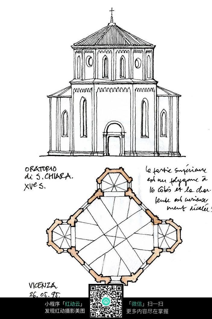 欧式建筑立面平面手绘线描图
