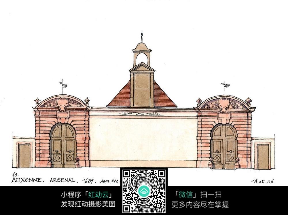 欧式建筑立面水彩手绘线描图图片