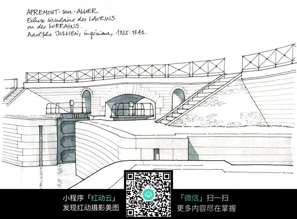 欧式建筑桥梁手绘线描图图片