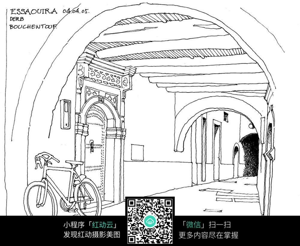 欧式建筑室内空间手绘线描图
