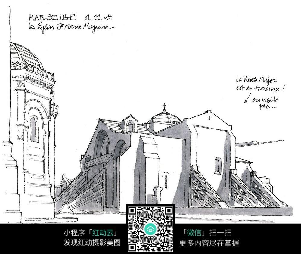 欧式建筑手绘填色线稿图图片