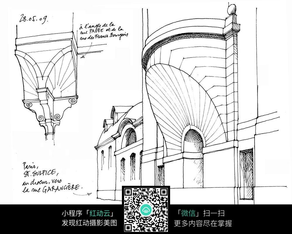 欧式建筑细部手绘线描图图片