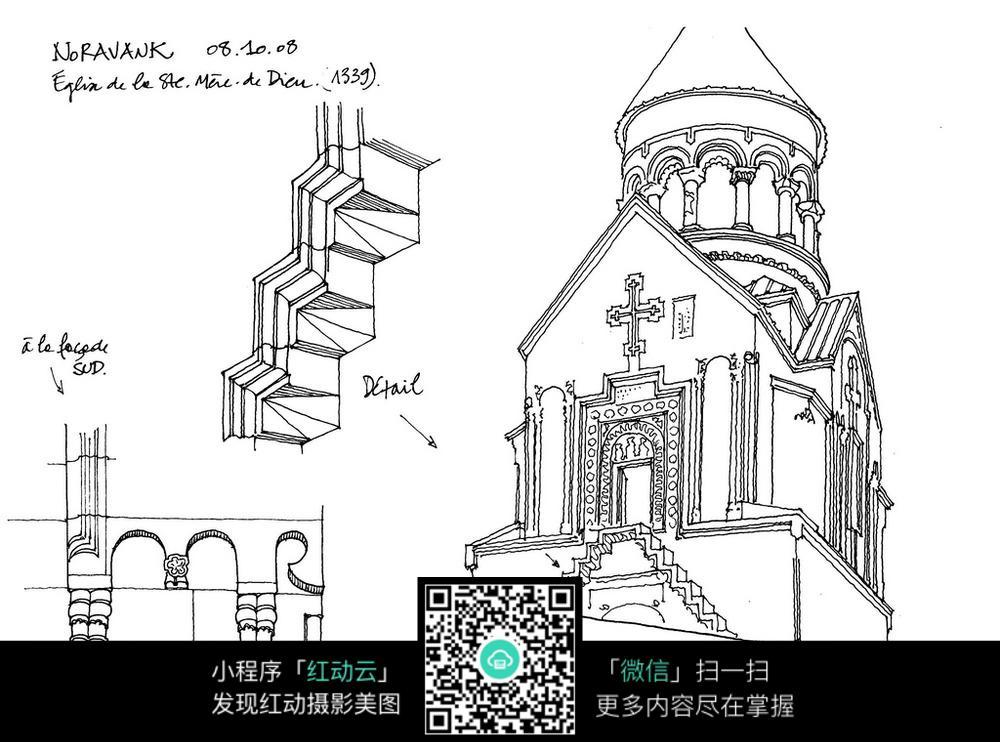 欧式教堂建筑手绘线描图图片