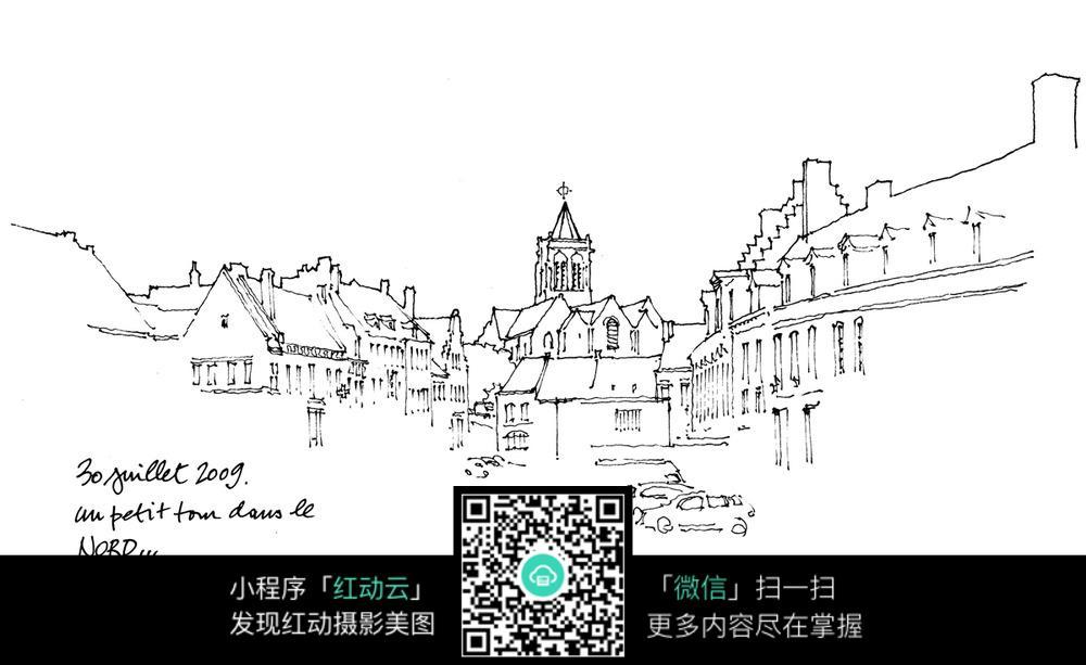 欧式街景手绘图图片