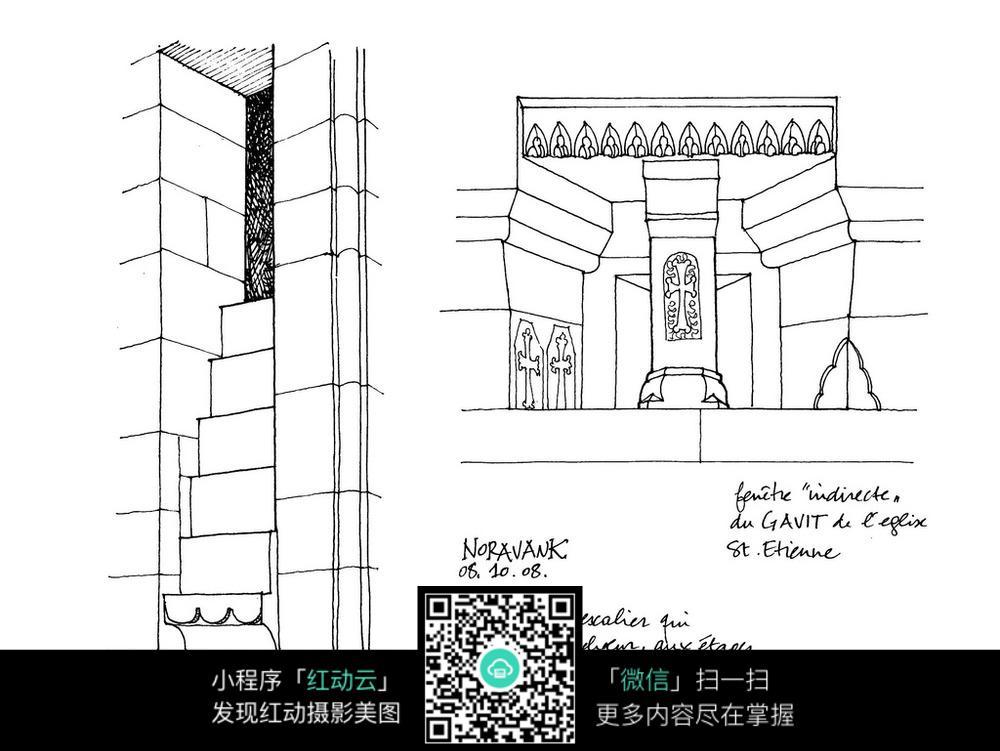 欧式立柱手绘线描稿图片
