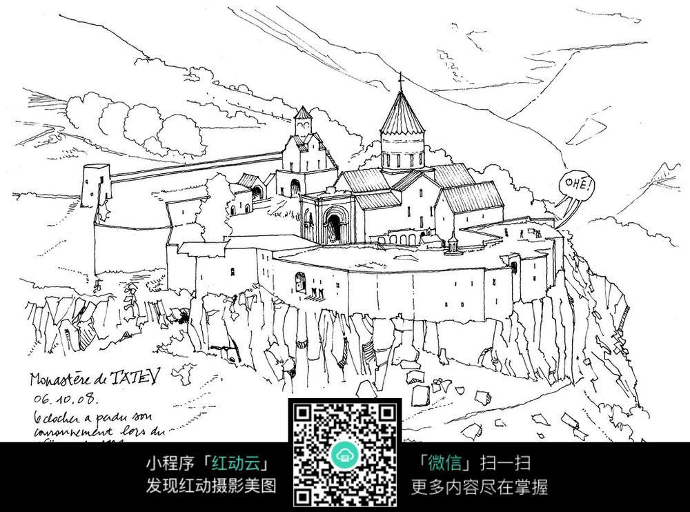 欧式山崖城堡手绘图图片