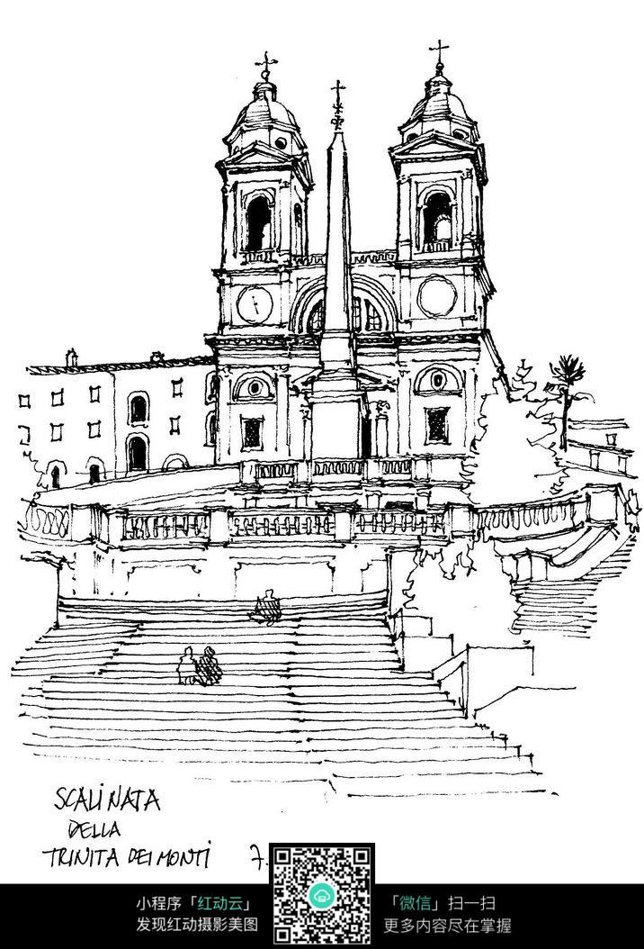 欧式双塔建筑阶梯线描稿图片