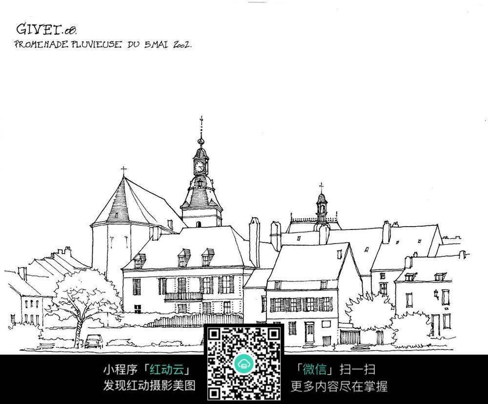 欧式乡村建筑街道手绘线稿图图片