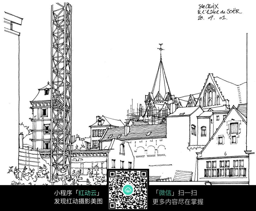 欧式乡村建筑手绘线描图图片
