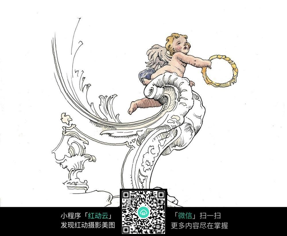 欧式小天使雕塑手绘图