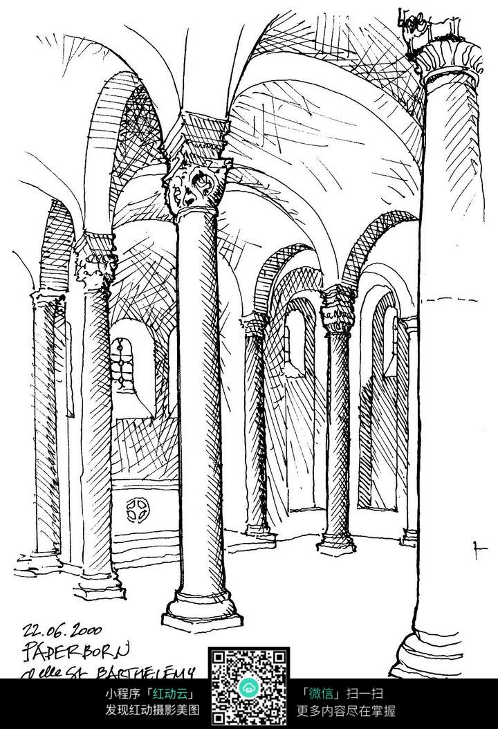 欧洲古建筑内部手绘图图片