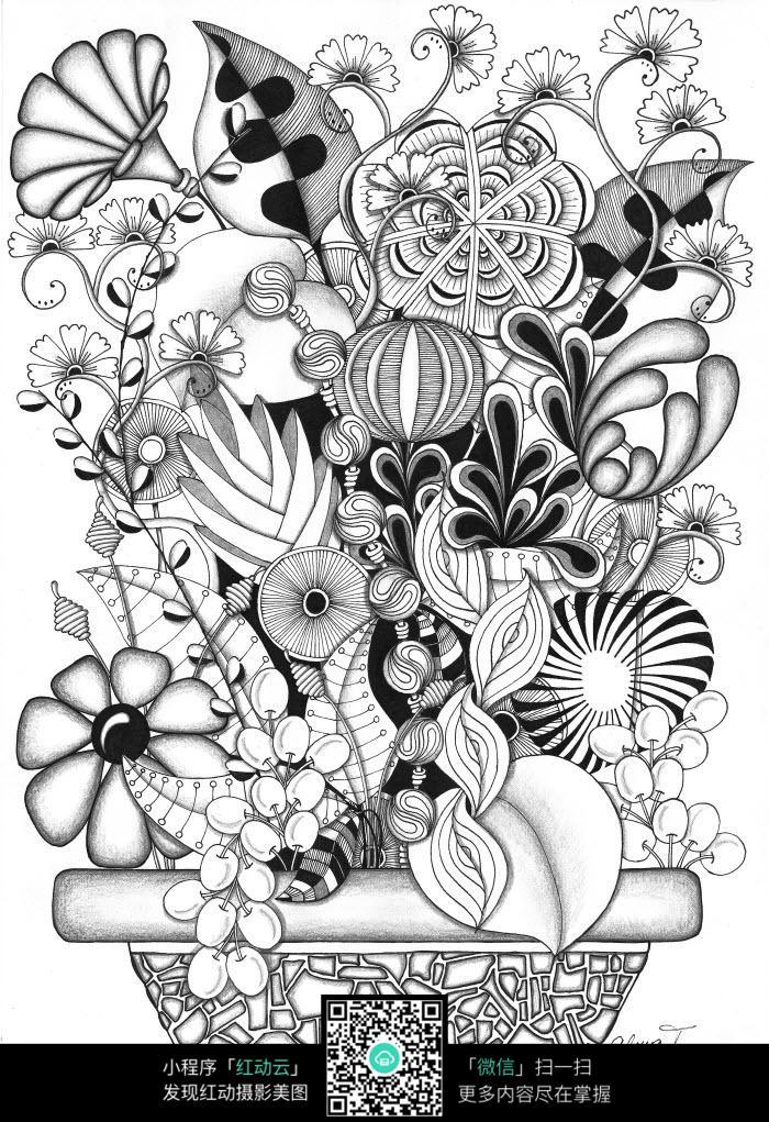 盆栽抽象插画设计
