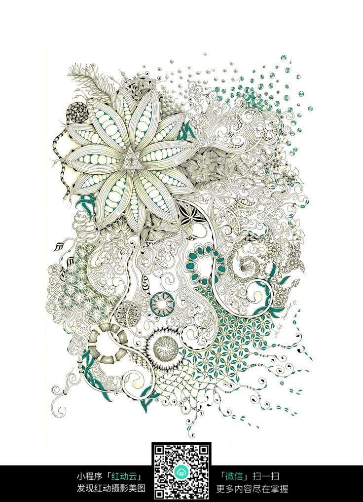 漂亮花卉手绘图案素材