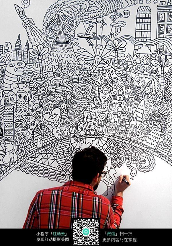 墙面手绘花纹图片