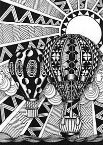热气球手绘设计图图片素材