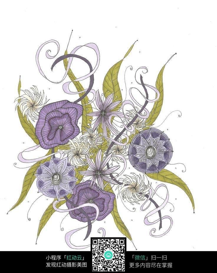 时尚花卉手绘设计素材