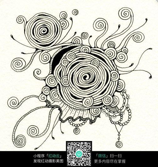 手绘抽象线描花纹图