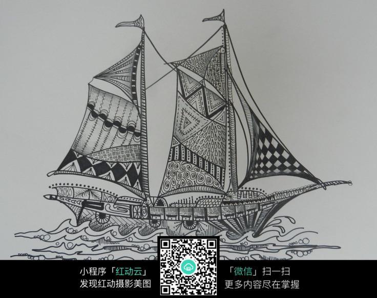 手绘帆船封面设计 帆船