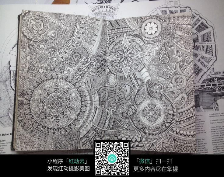 手绘复杂花纹线稿