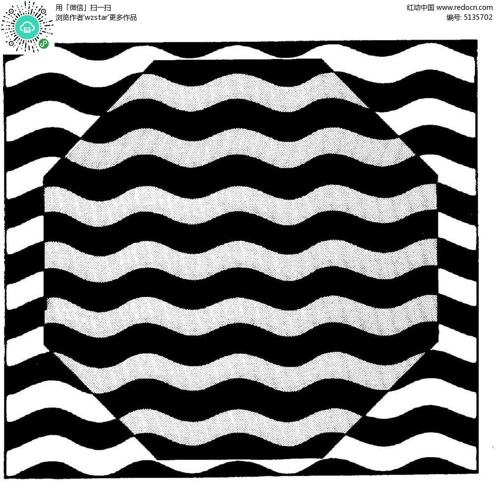 手绘黑白八边形水纹曲线