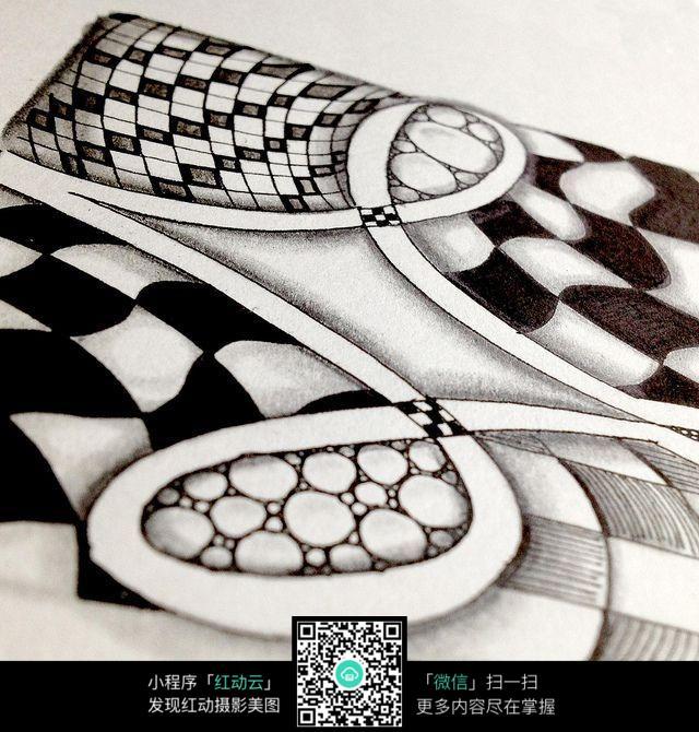 手绘黑白方块花纹