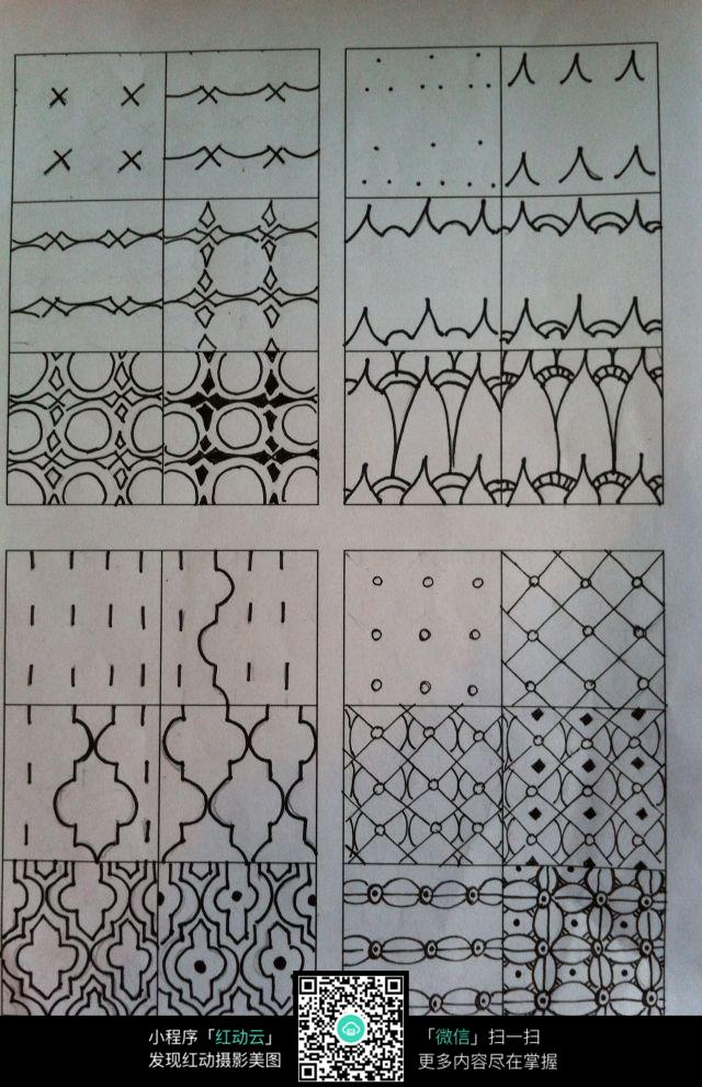 手绘几何线条花纹