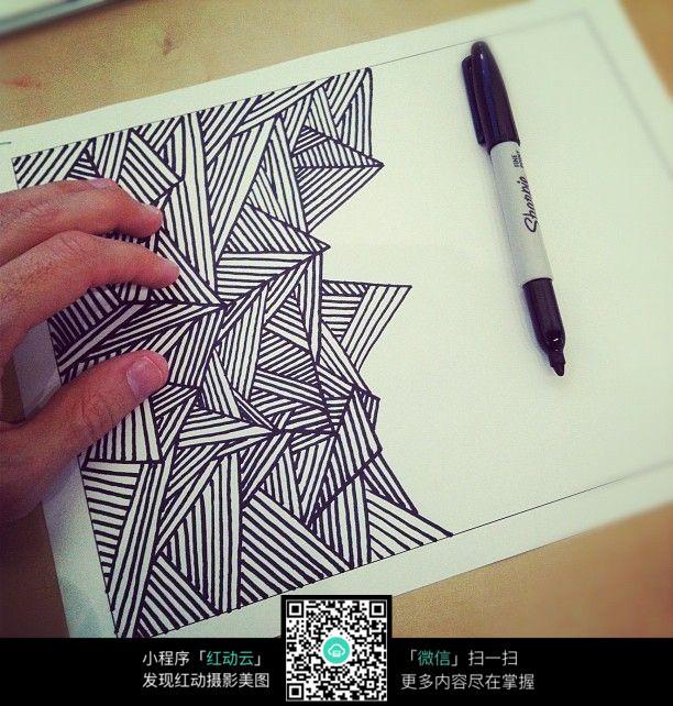 免费素材 图片素材 漫画插画 其他 手绘三角线条装饰画