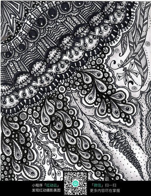 植物树叶花纹 手绘黑白装饰画 复杂传统花纹插图 民族植物花卉插画