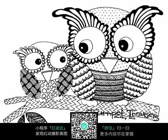 树上的两只猫头鹰创意手绘插画
