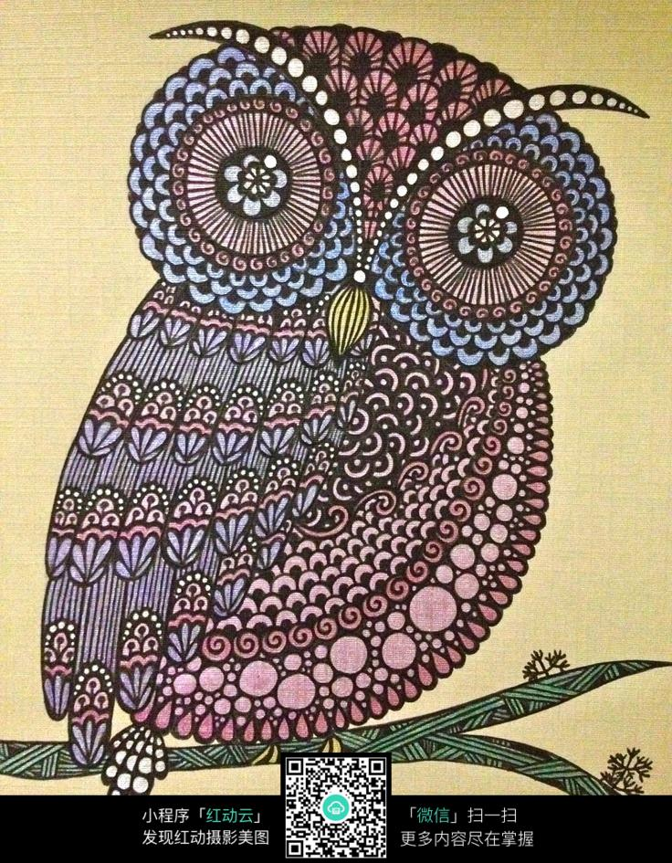 树枝上的猫头鹰创意手绘插画