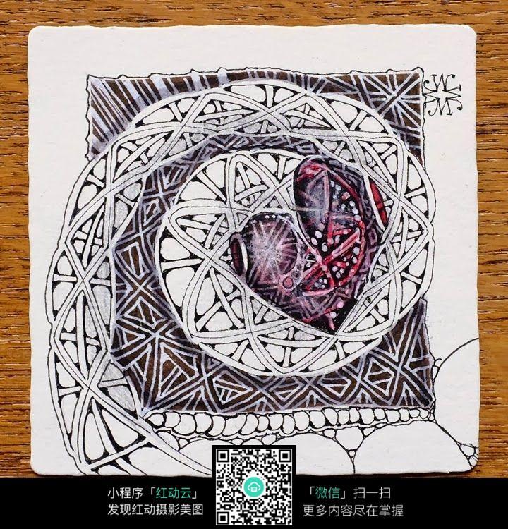 网格爱心花纹 手绘黑白装饰画 复杂传统花纹插图 民族植物花卉插画