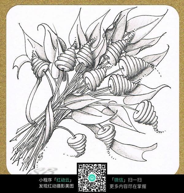 黑白手绘食物插画_手绘